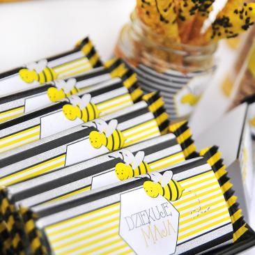 Prezent dla gości - czekolada - Urodziny Pszczółkowe Bee Party