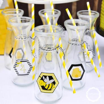Karafki - Papierowe Słomki - Urodziny Pszczółkowe Bee Party