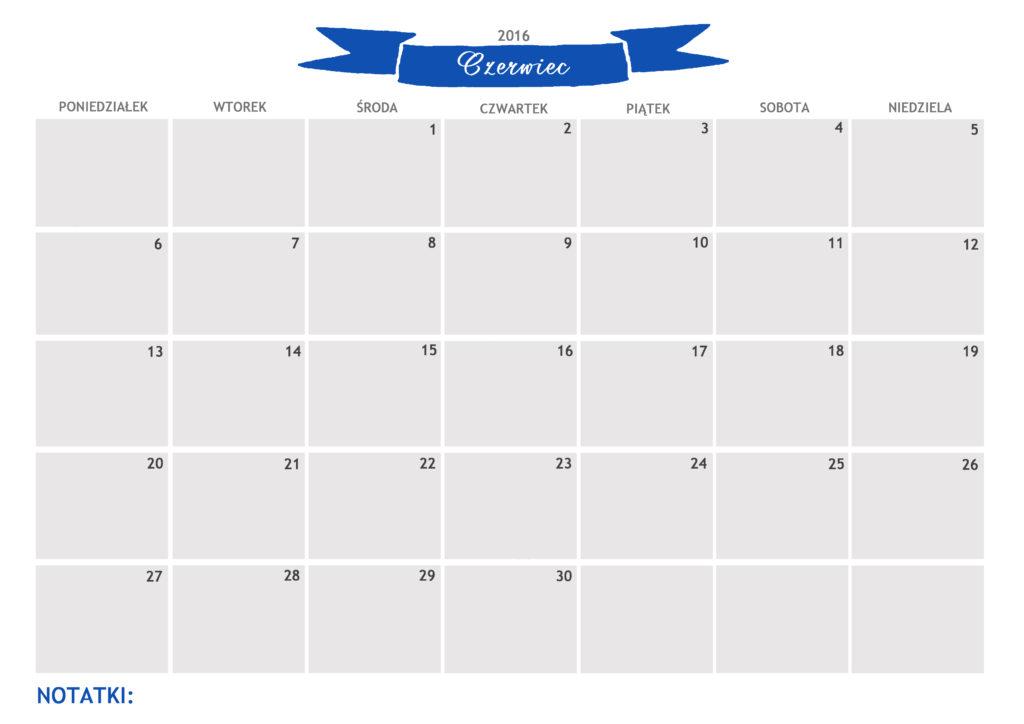 kalendarz do druku czerwiec 2016