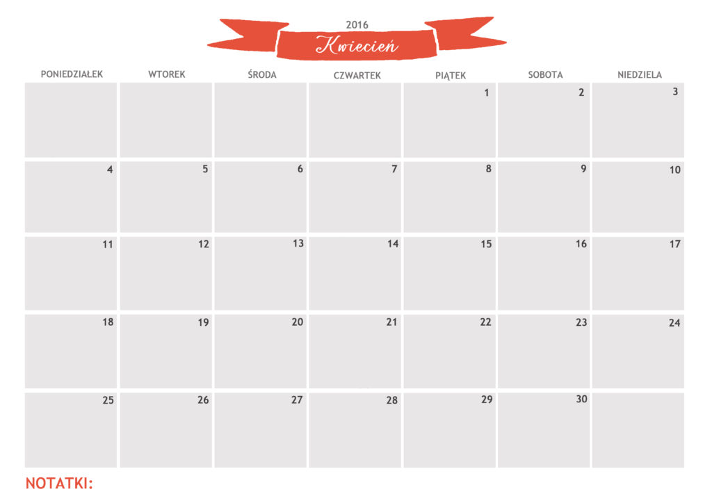 kalendarz do druku kwiecień 2016