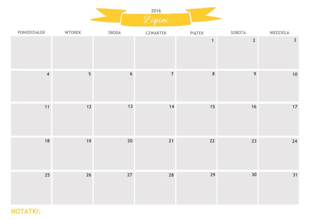kalendarz do druku lipiec 2016