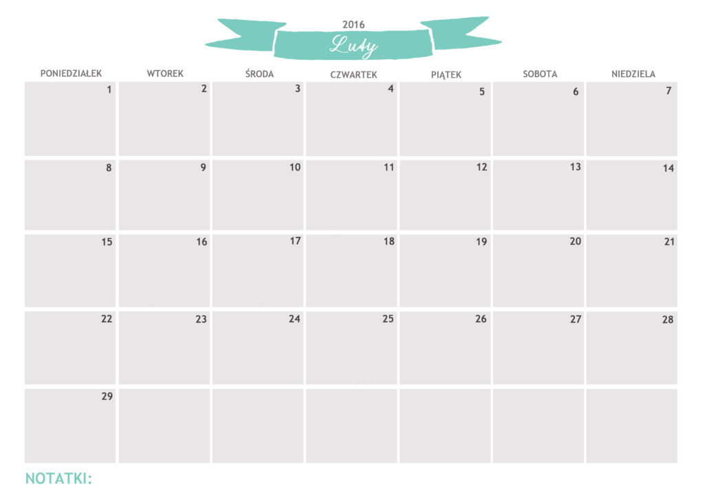 kalendarz do druku luty 2016