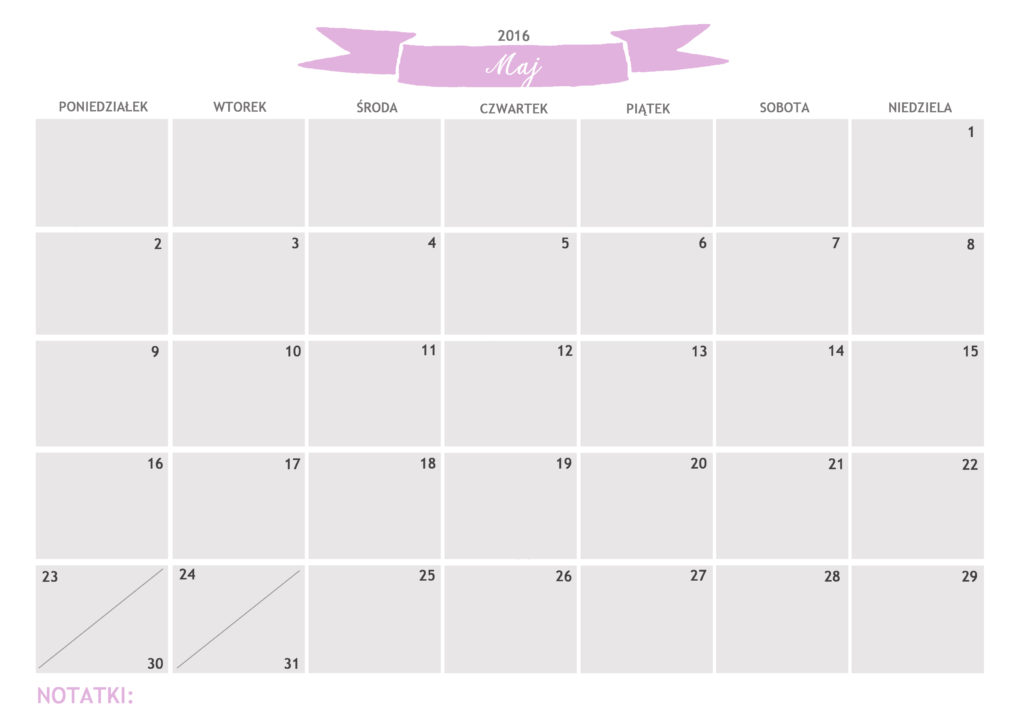 kalendarz do druku maj 2016