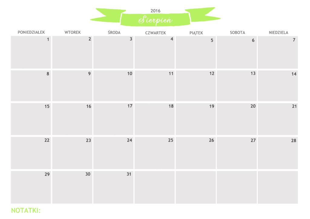 kalendarz do druku sierpień 2016