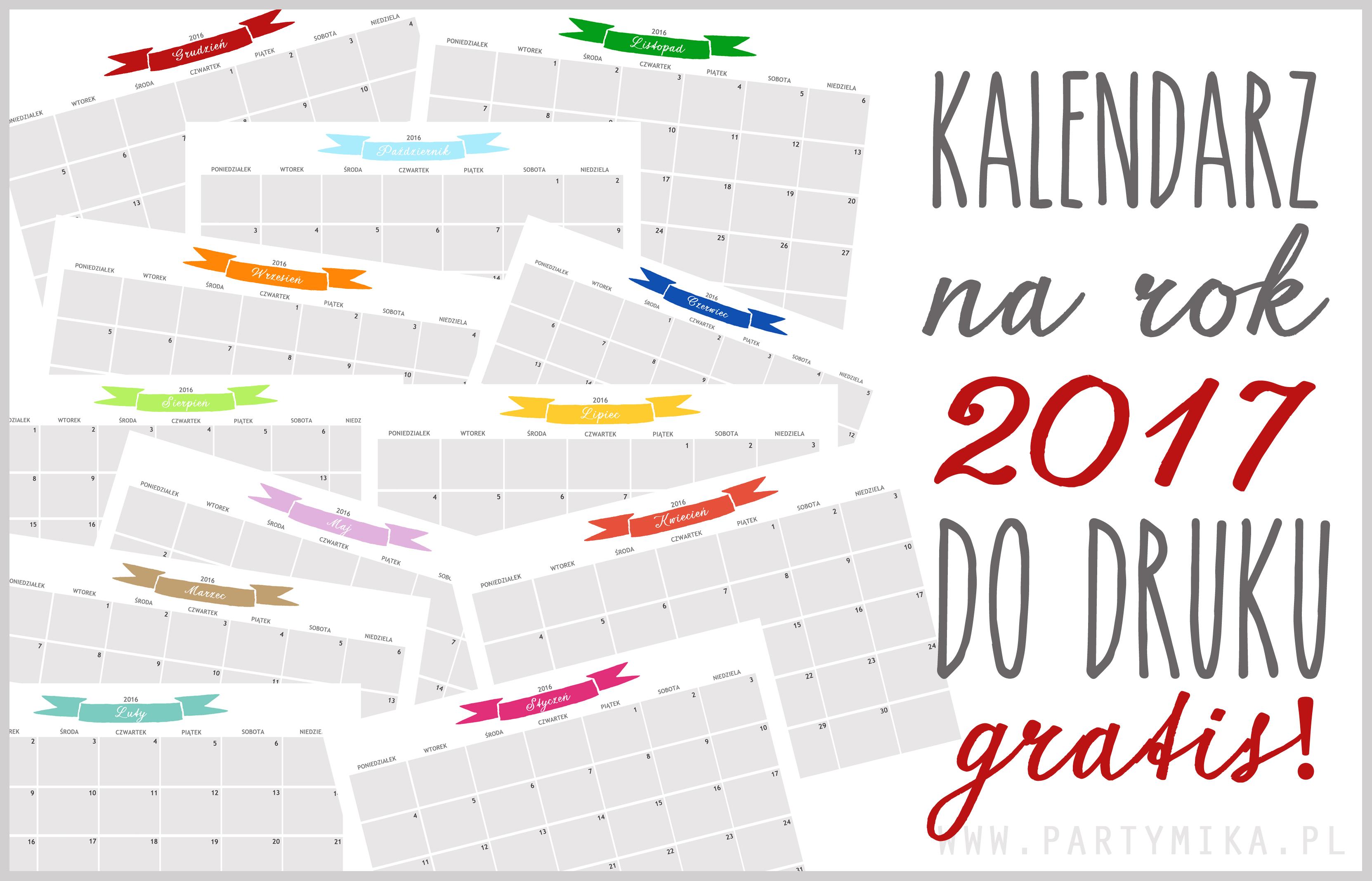 kalendarz do druku na 2017