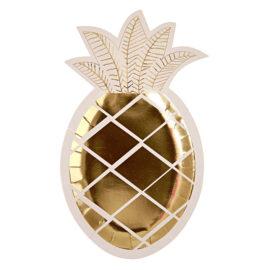 talerze ananasy złote